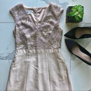 Kay Unger Pink And Tan Sequin A Line Dress